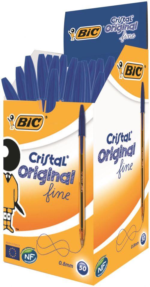 Bic Cristal Fine Ballpoint Pen Blue PK50