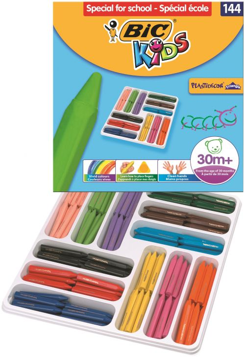Bic Kids Plastidecor Triangle Crayons Assorted (Pack of 144) 887833