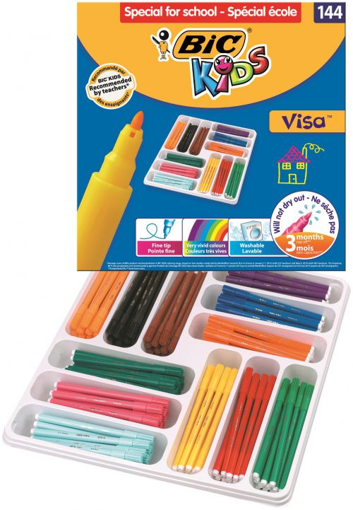 BIC KIDS Visa Felt Tip Pens Assorted Colours (144) 8878381