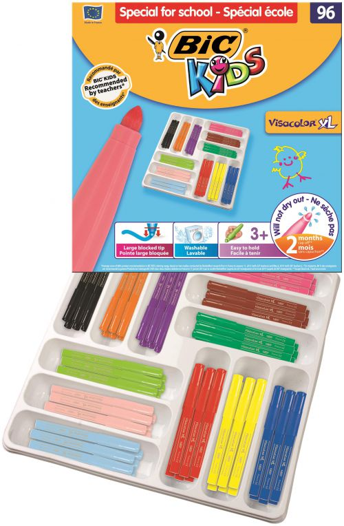 Bic Kids Assorted Visa XL Felt Pens (Pack of 96) 887839