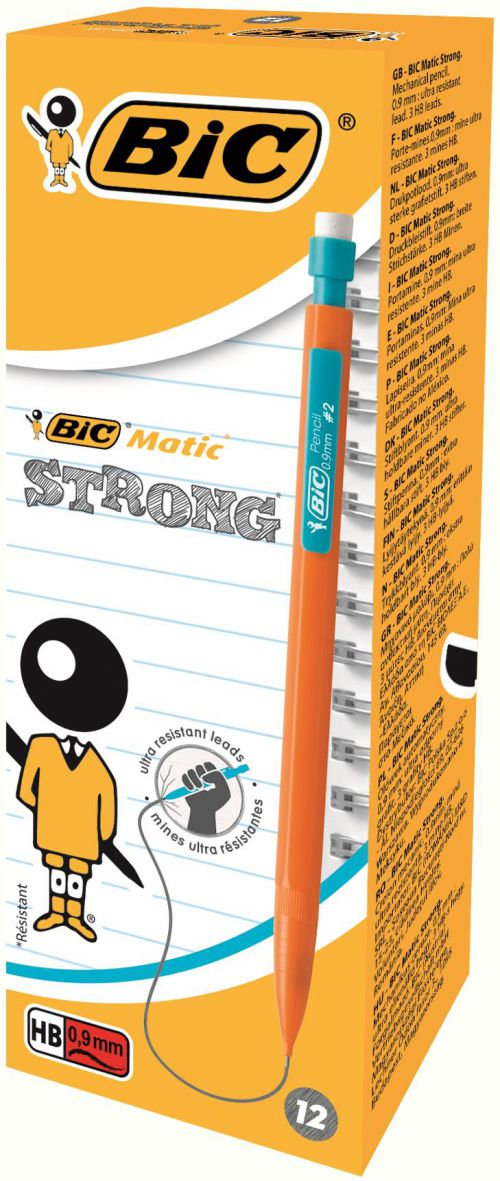 Bic Matic Strong Mechanical Pencil Built-in Eraser 3 x HB 0.9mm Ultra Solid Lead Ref 892271 [Pack 12]