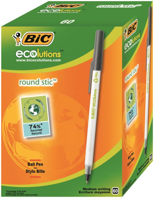 Bic Ecolutions Stic Ball Pen Recycled Slim 1.0mm Tip 0.32mm Line Black Ref 893239 [Pack 60]
