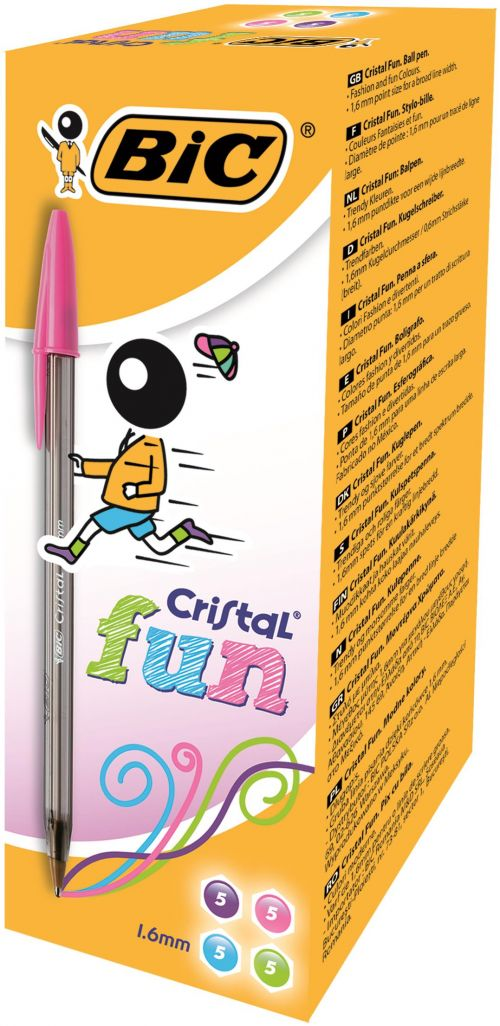 Bic Cristal FUN Ball Pen Assorted Colours PK20