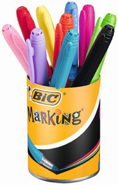 BIC Permanent Markers Colour Collection Non-toxic Fine Tip 1.8mm 0.8mm Line Assorted Ref 943163 [Pack 12]