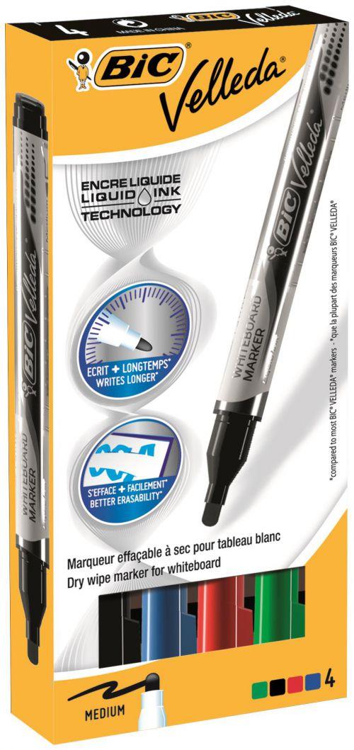 Bic Velleda Pocket Liquid Ink Whiteboard Marker Bullet Tip 2.2mm Line Assorted Colours (Pack 4)