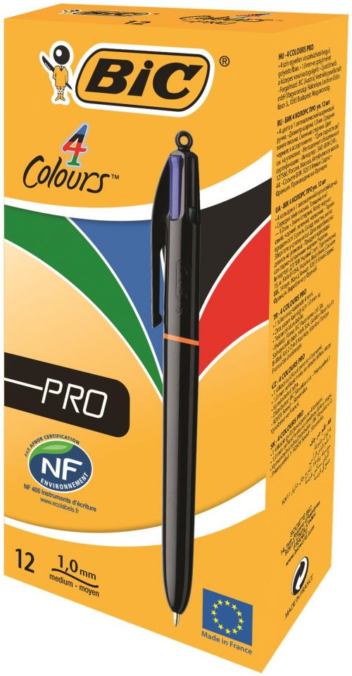Bic 4 Colours Pro Ballpoint Pen Assorted PK12