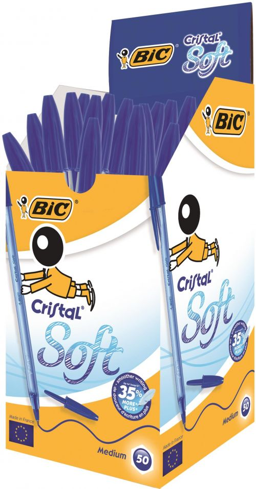 BIC Cristal Soft Ball Pen Medium 1.2mm Tip 0.35mm line Blue Ref 918519 [Pack 50]