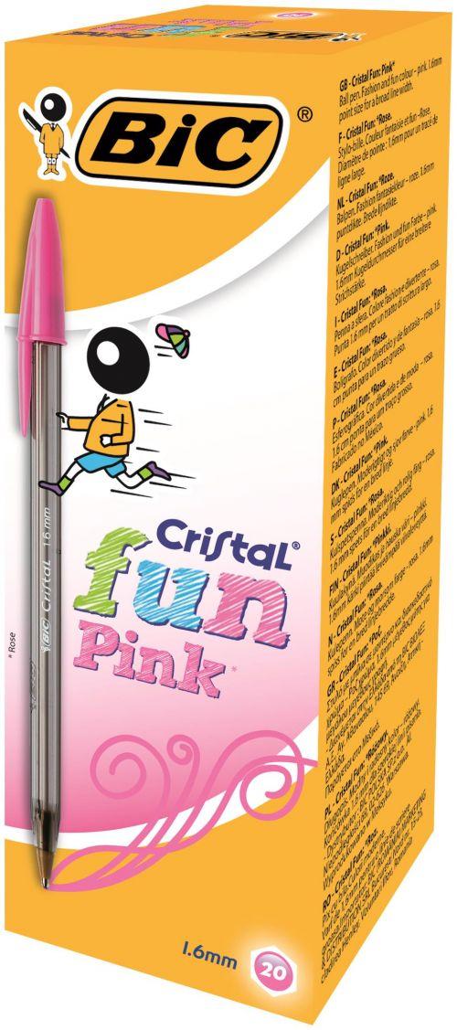 Bic Cristal Fun Ballpoint Pen 1.6mm Tip 0.42mm Line Pink (Pack 20)