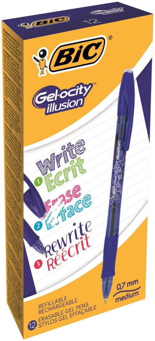 Bic Gel-ocity Illusion Med Erasable Rollerball Blue PK 12