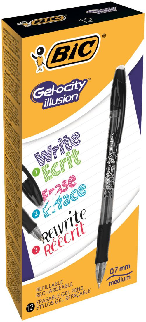 Bic Gel-ocity Illusion Med Erasable Rollerball Black PK12