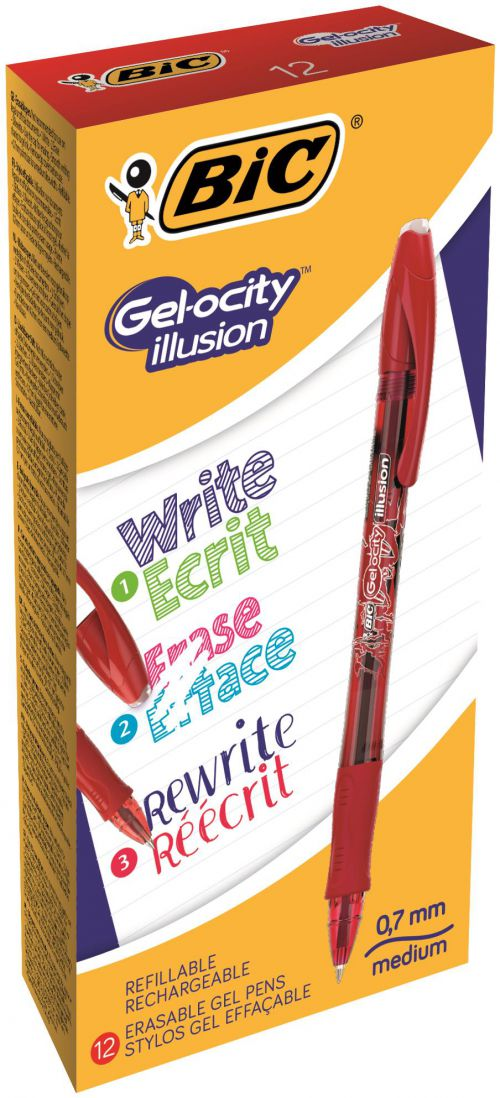Bic Gel-ocity Illusion Med Erasable Rollerball Red PK12