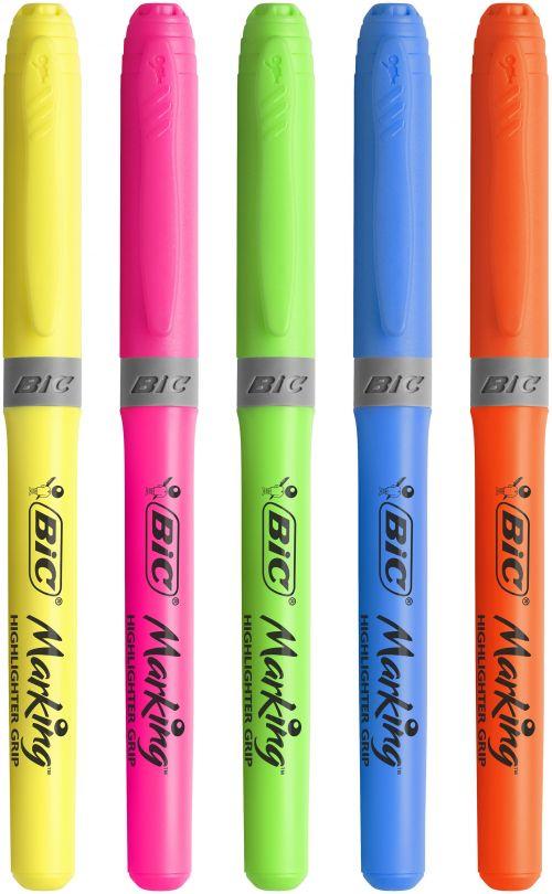 Bic Brite Liner Grip Highlighter Pen Chisel Tip 1.6-3.4mm Line Yellow Ref 824758 [Wallet 5]