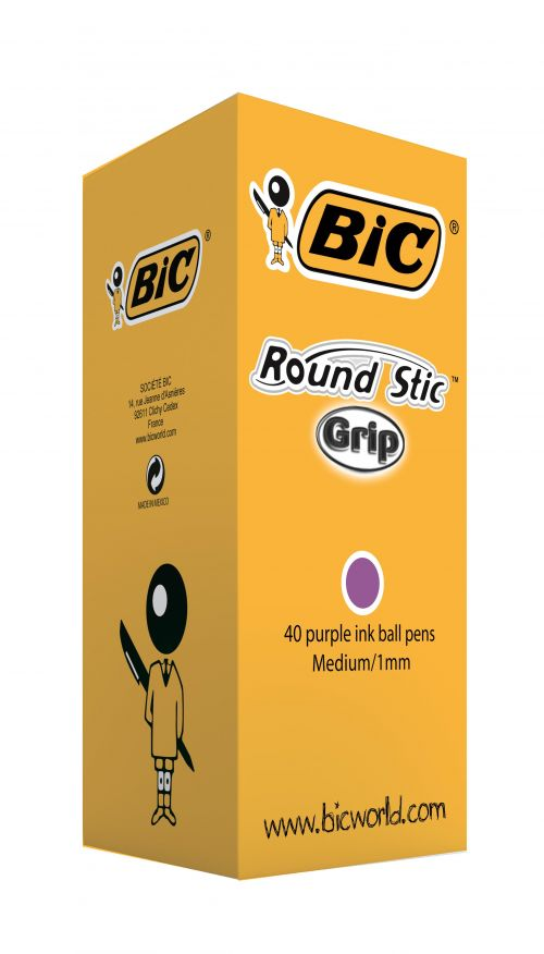 Bic Round Stic Grip Ballpoint Pen Purple (Pack of 40) 920412