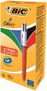 Bic 4-Colours Original Fine Ballpoint Pen 1.0mm Tip - Pack of 12