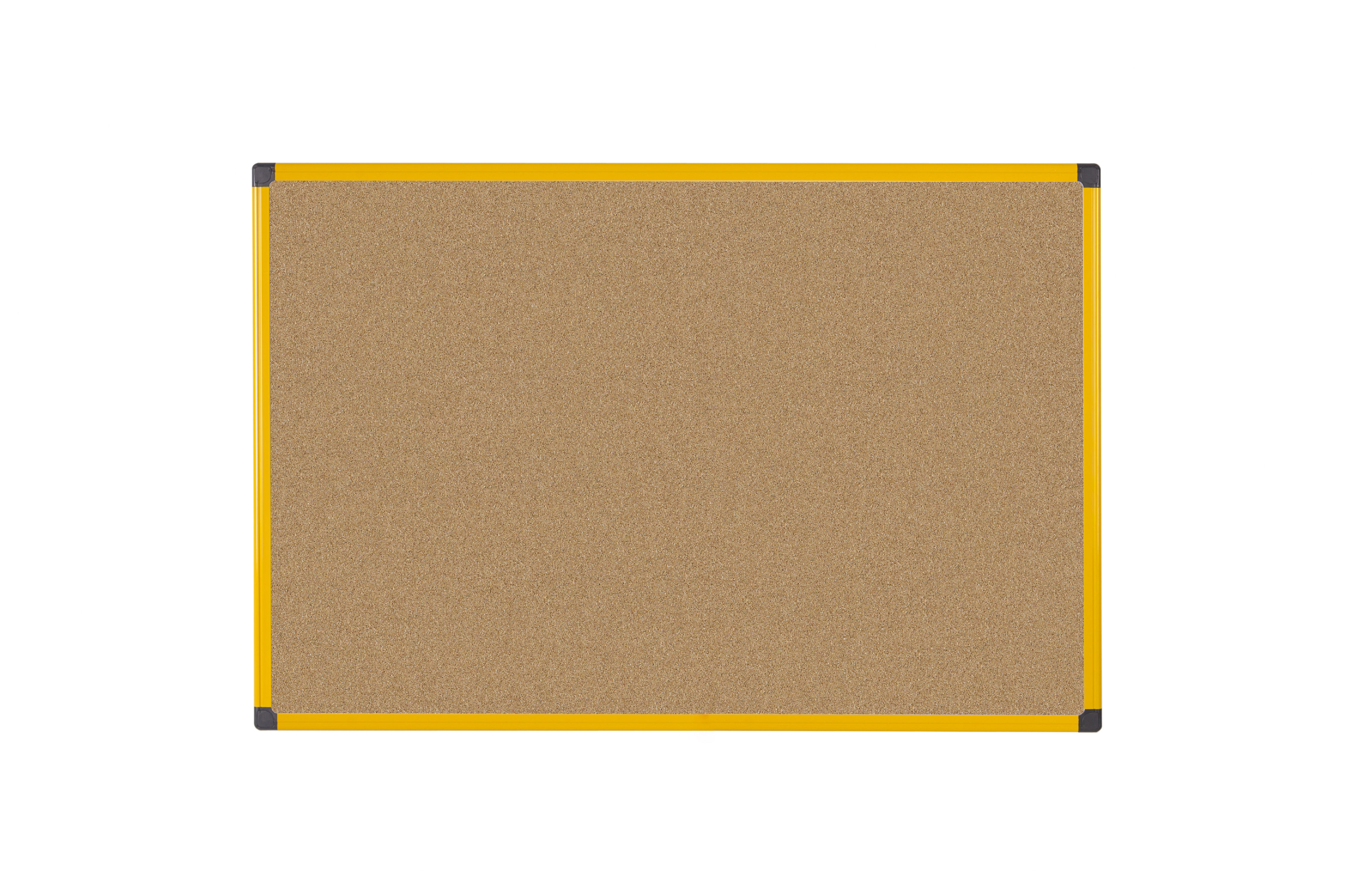 Cork Bi-Office Ultrabrite Cork Noticeboard Yellow Aluminium Frame 600x900mm