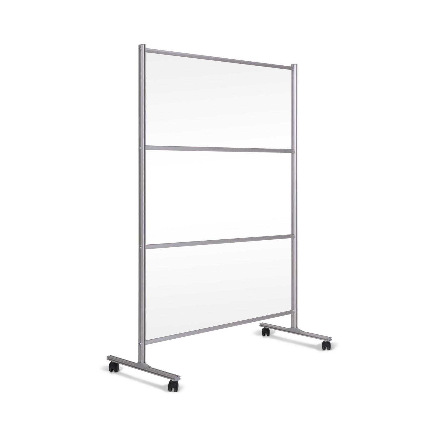 Bi-Office Mobile Glass Divider Screen with Aluminium Frame 1200x1500mm Clear