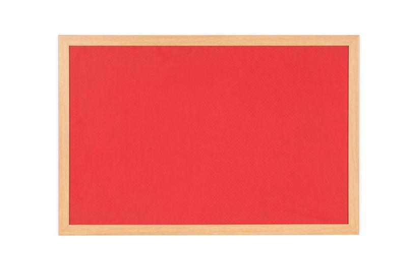 Felt Bi-Office Earth-It Red Felt Noticeboard Oak Wood Frame 1800x1200mm