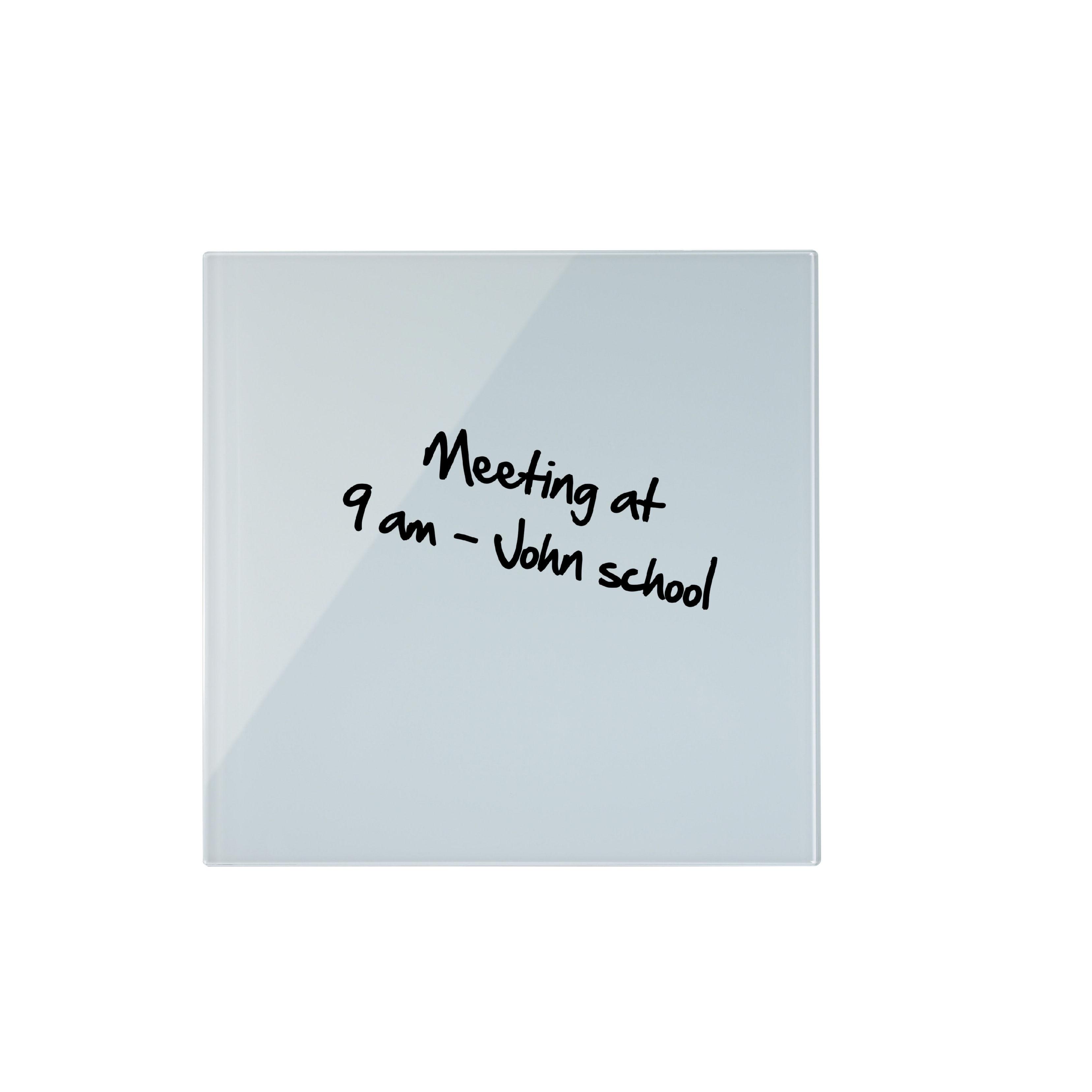 Magnetic Bi-Office Magnetic Glass Whiteboard Memo Tile 480x480mm White