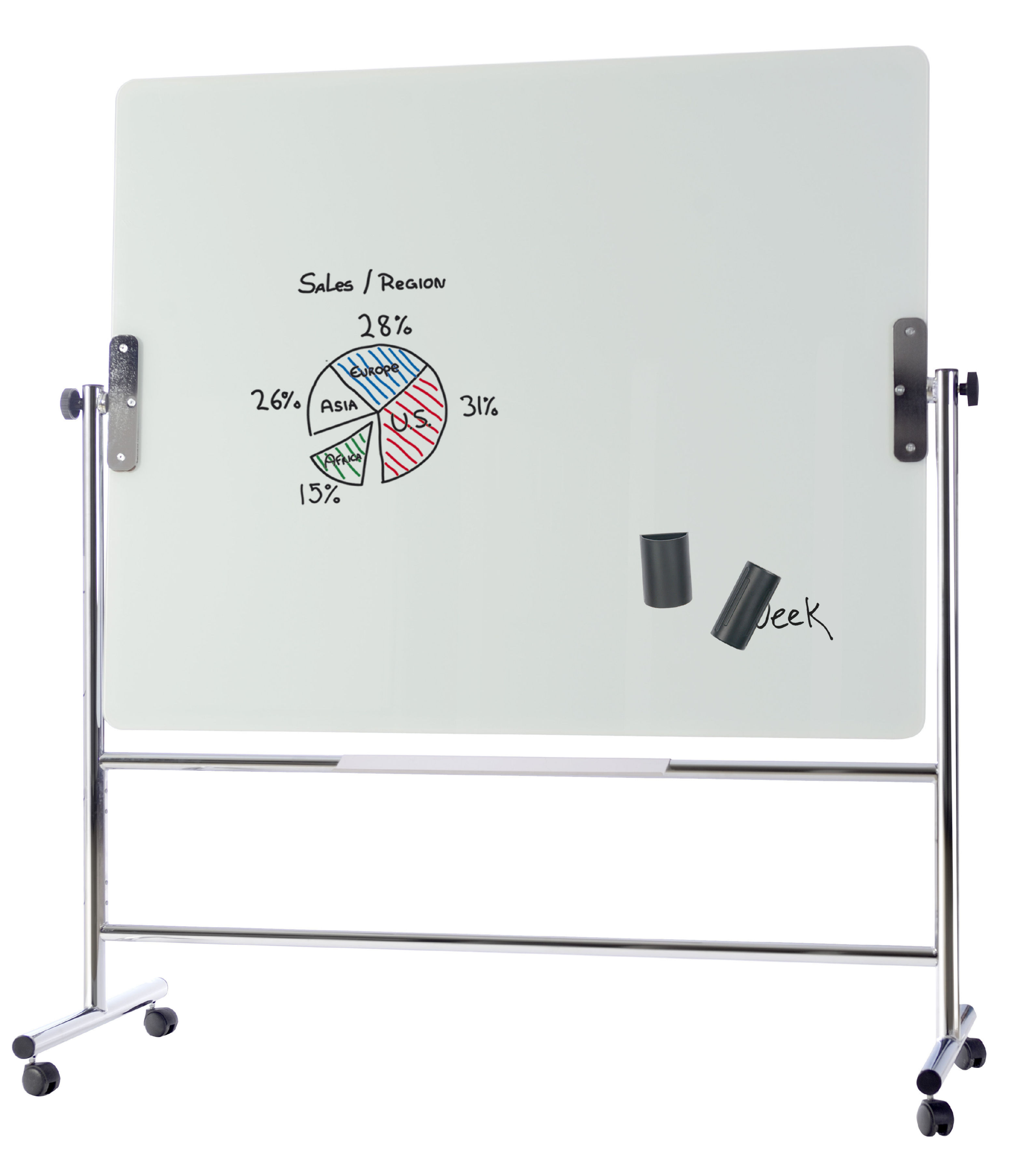 Magnetic Bi-Office Revolving Double Sided Magnetic Glass Whiteboard 1500x1200mm