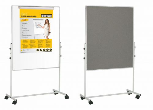 Bi-Office Mobile Duo Melamine/Felt Easel 70x120cm