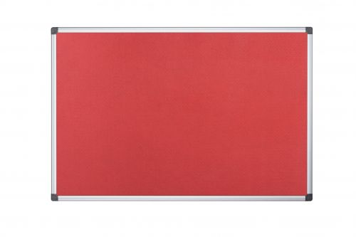 Bi-Office Maya Red Felt Notice Board Alu Frame 90x60cm