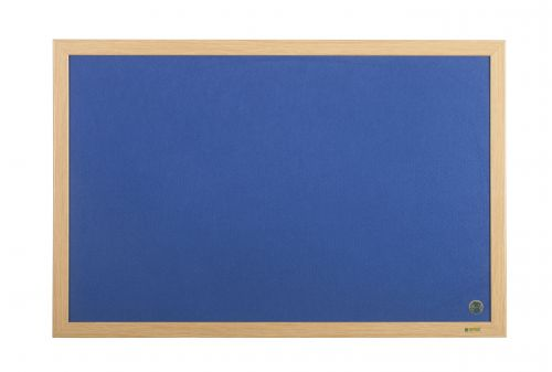 Bi-Office Earth-It Exec Blue Felt Ntcbrd Oak Frme 90x60cm