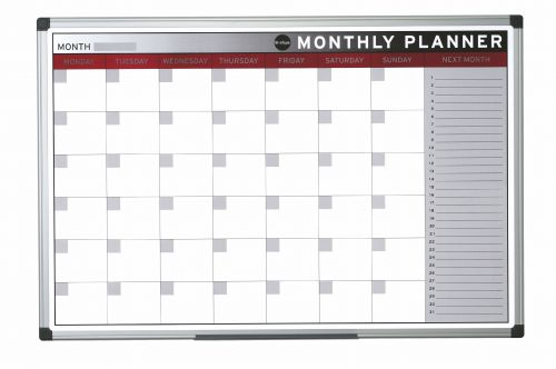Bi-Office Magnetic Month Planner Alu Frame 900x600 mm