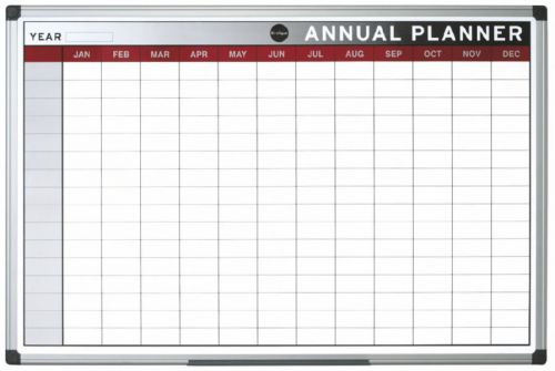 Bi-Office Annual Planner Aluminium frame 900x600 mm