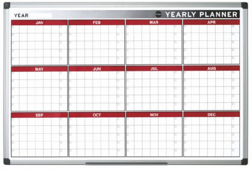 Image for Bi-Office Magnetic annual Planner Alu Frame 900x600 mm