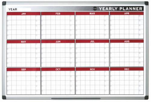Bi-Office Magnetic annual Planner Alu Frame 900x600 mm