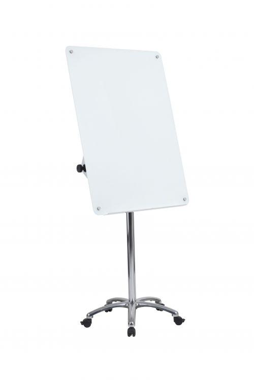 Bi-Office Mobile Glass Flipchart Easel 700x1000mm Magnetic Silver