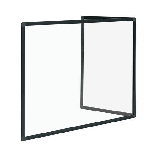 Bi-Office Duo Glass Board 600mm  900x600Blk Alu Frm