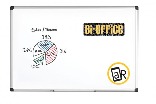 Bi-Office Maya Dry Wipe Aluminium Framed Wtbrd 60x45cm