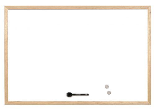 Bi-Office Magnetic Whiteboard 400x300mm Wood Trim Code MM01001010