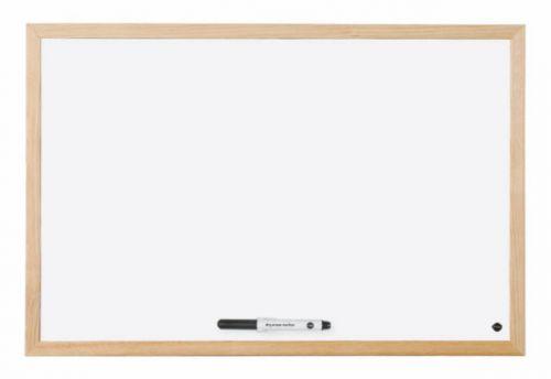 Bi-Office Non Magnetic Melamine Whiteboard Pine Wood Frame 400x300mm