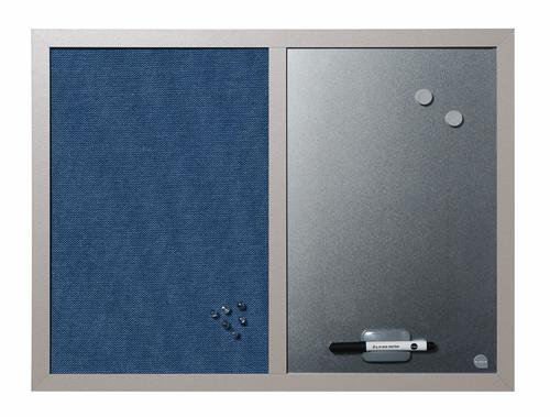 Bi-Office Combination Board Blue Bells Fabric/Magnetic Whiteboard Aluminium Frame 600x450mm