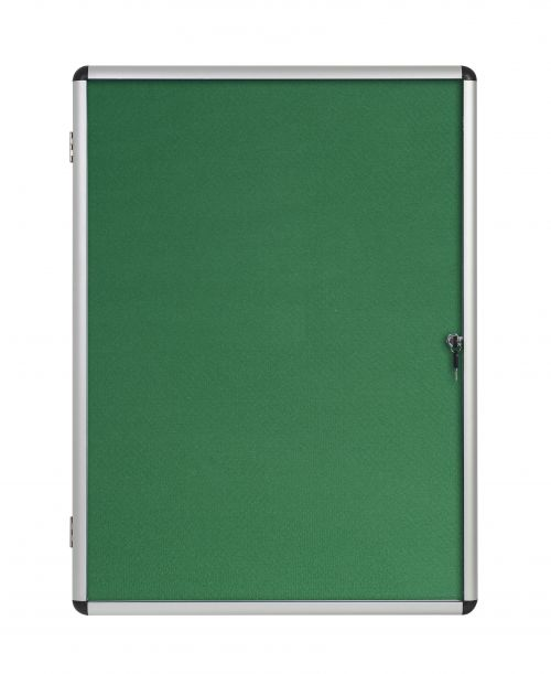 Bi-Office Enclore Green Felt Lockable Noticeboard 9xA4