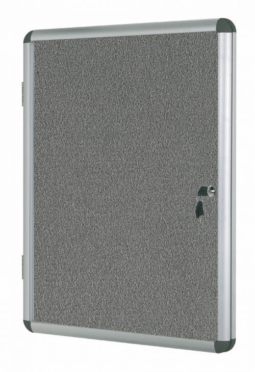 Bi-Office Enclore Grey Felt Lockable Noticeboard 20xA4