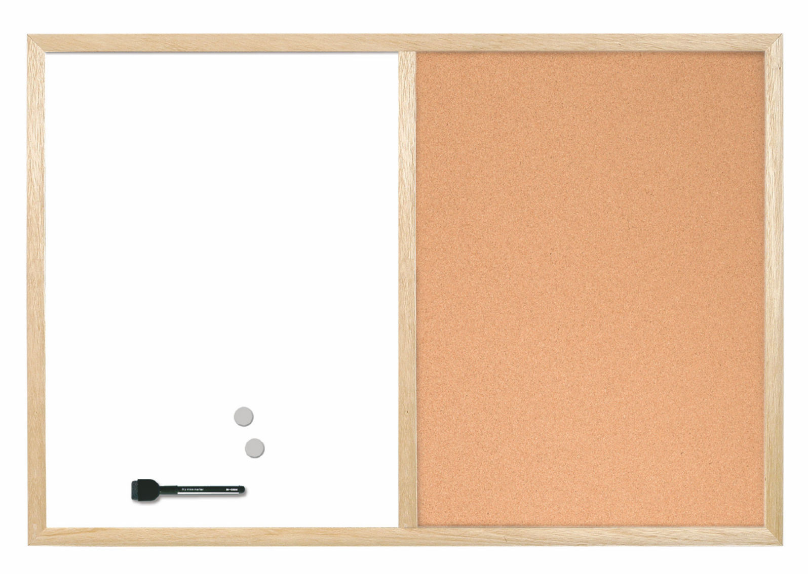 Bi-Office Wood Frame Cork/Drywipe Board 900x600mm MX07001010