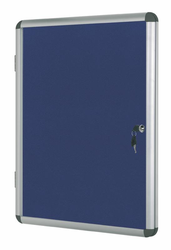 Bi-Office Enclore Blue Felt Lockble Noticeboard Display Case 4 x A4 500x674mm