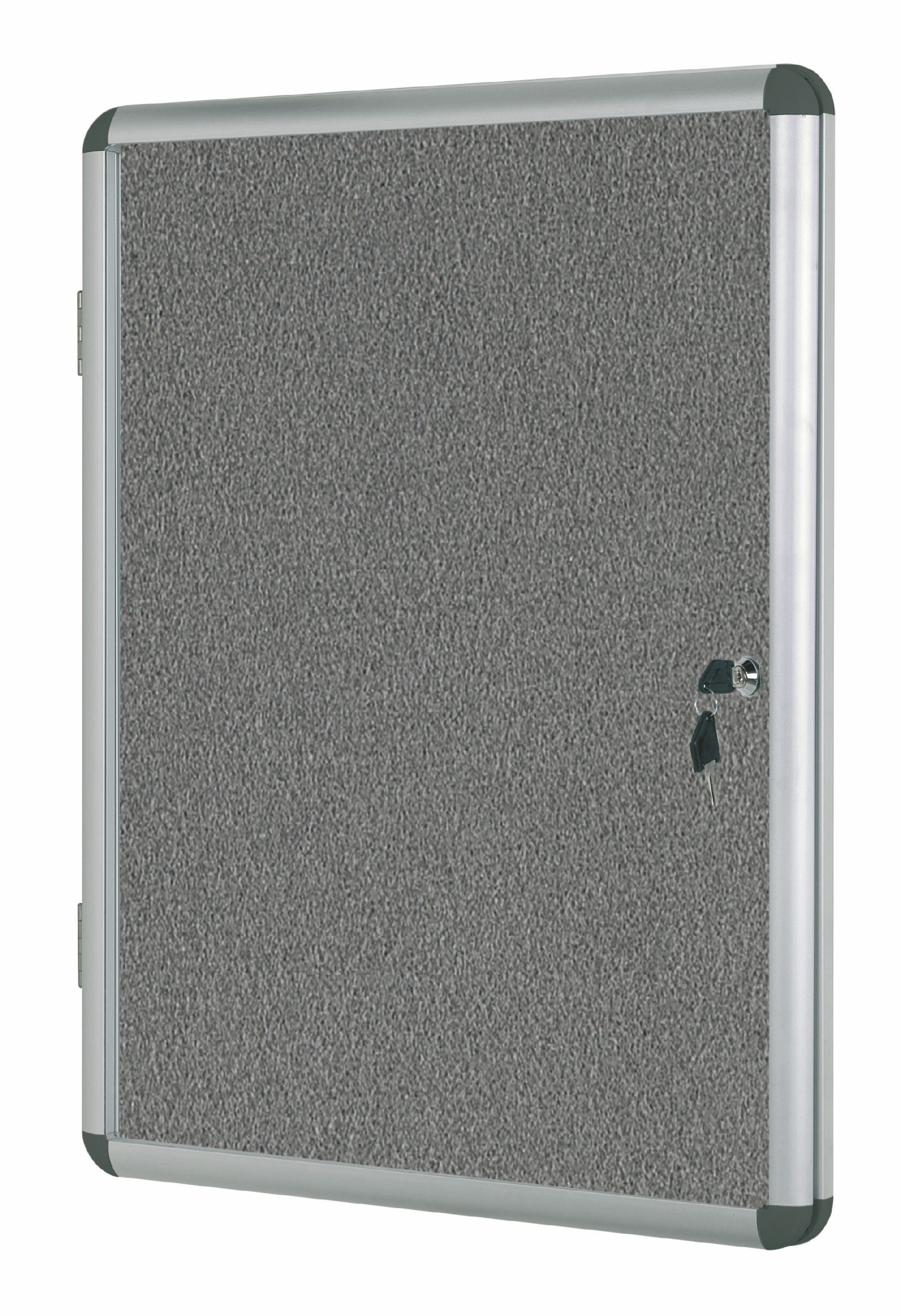 Foamboard Bi-Office Enclore Grey Felt Lockable Noticeboard 9xA4