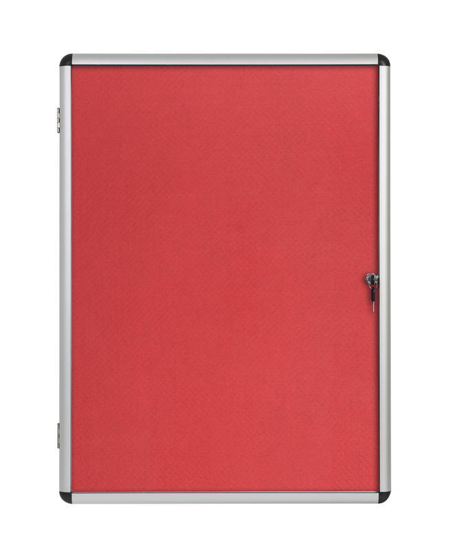 Bi-Office Enclore Red Felt Lockable Noticeboard Display Case 9 x A4 720x981mm