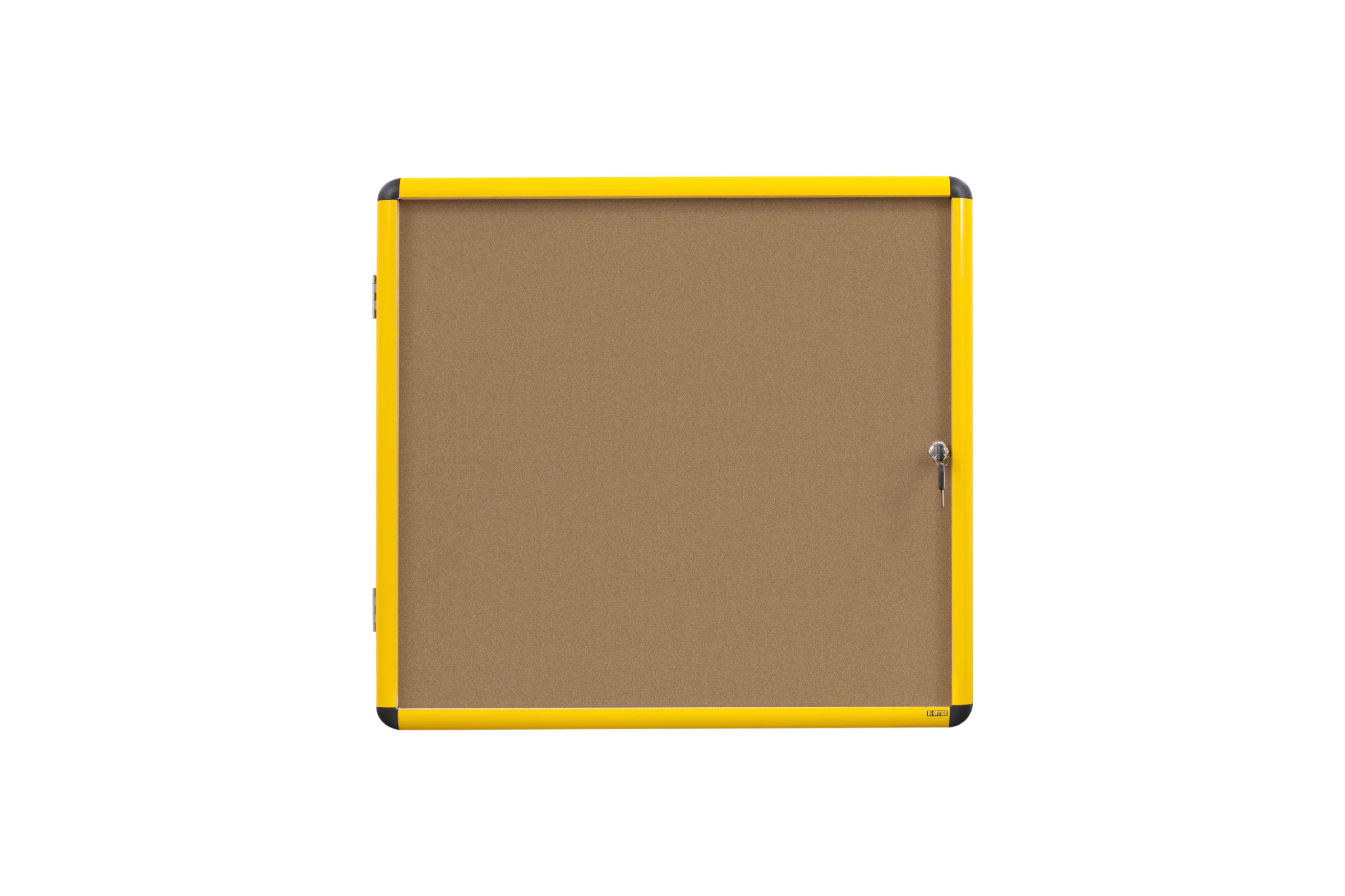 Bi-Office Ultrabrite Cork Noticeboard Display Case Lockable Yellow Aluminium Frame 12 x A4