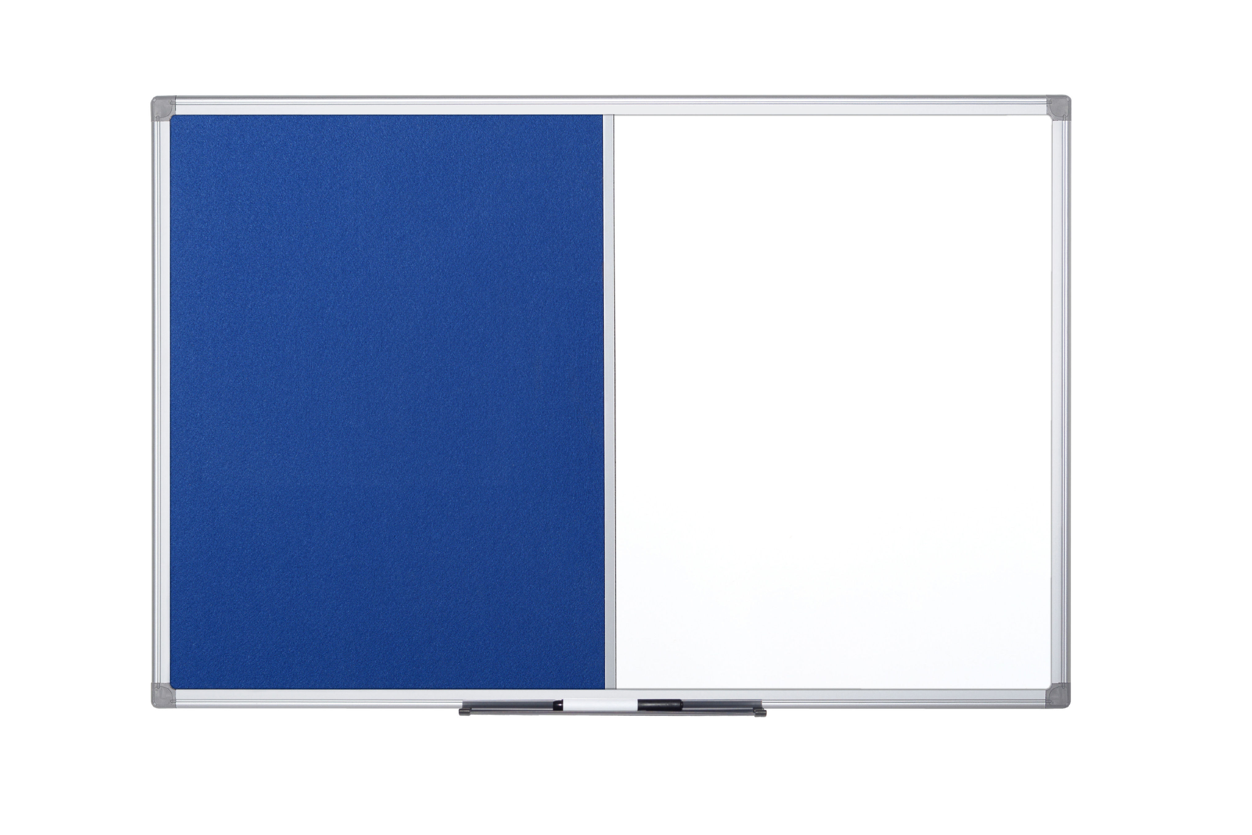 Bi-Office Maya Combination Board Blue Felt/Magnetic Whiteboard Aluminium Frame 900x600mm
