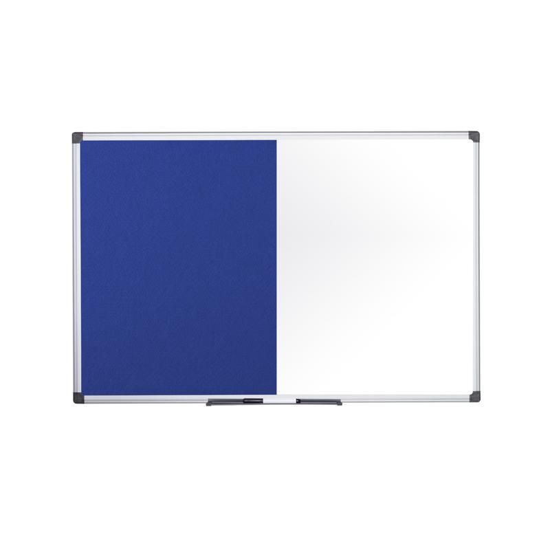 Bi-Office Maya Combination Board Blue Felt/Non Magnetic Whiteboard Aluminium Frame 1800x1200mm
