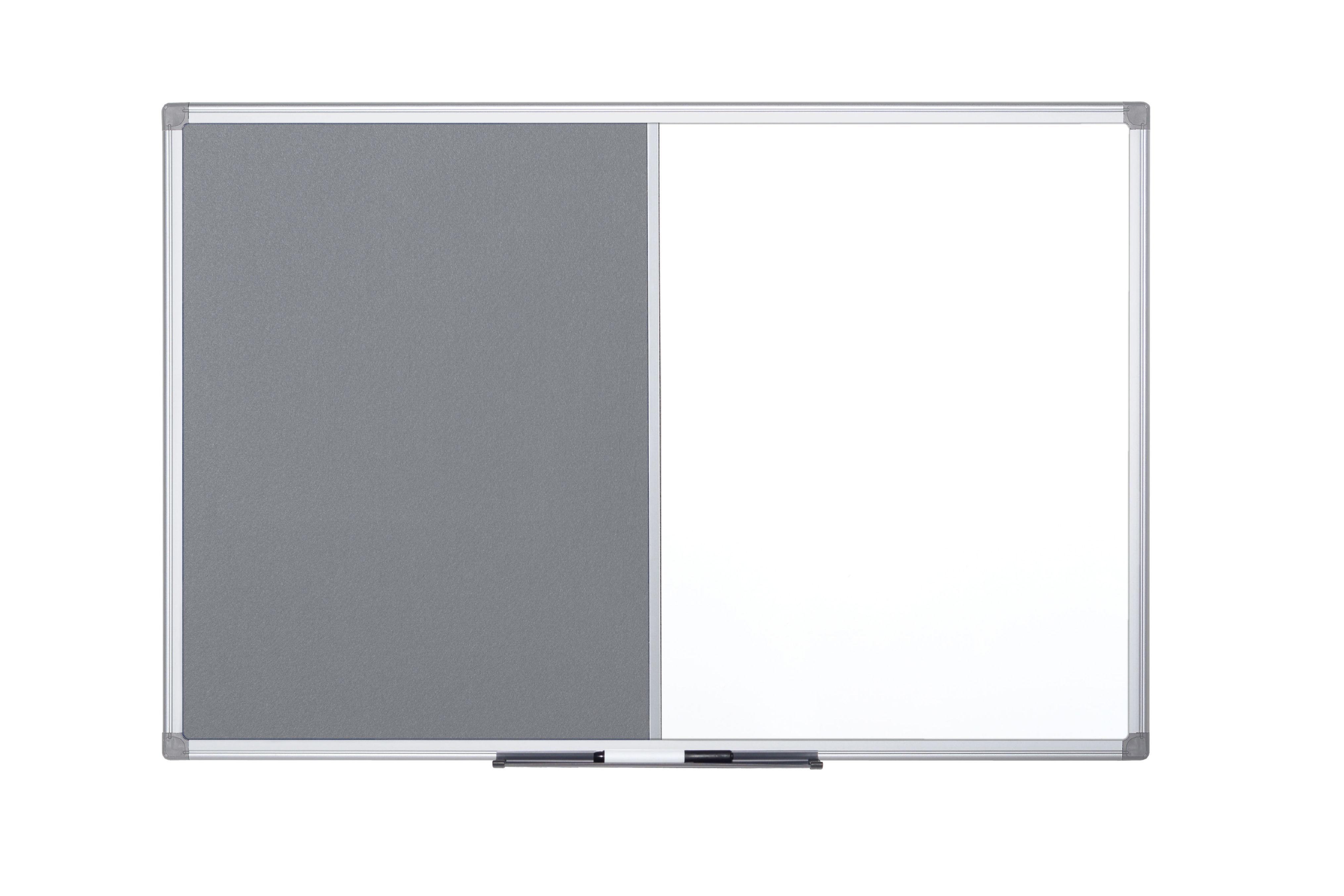 Bi-Office Maya Combination Board Grey Felt/Magnetic Whiteboard Aluminium Frame 1800x1200mm