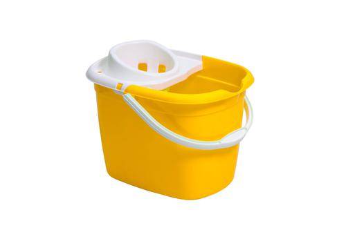 Purely Smile Plastic Mop Bucket and Wringer 12L Ye ll