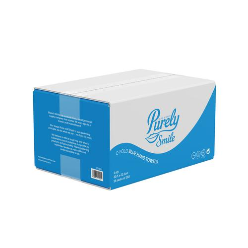 ValueX Hand Towels C Fold 1Ply 100% Recycled Blue (Case 2400) PS1021