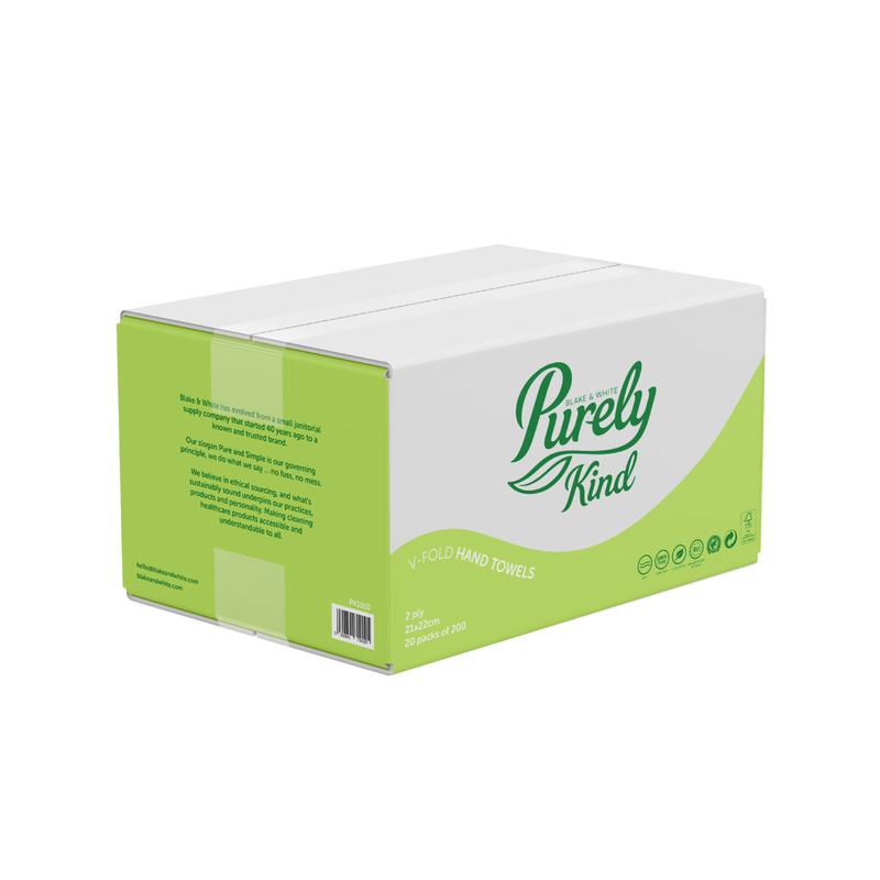 Hand Towels & Dispensers Purely Kind Hand Towels V Fold 2Ply Plastic Free Packaging FSC White (Case 4000) PK1010