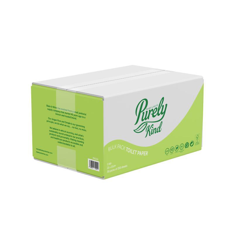 Toilet Tissue & Dispensers Purely Kind Toilet Paper Bulk Pack For Dispensers 2Ply Plastic Free Packaging FSC 7500 sheets PK1101